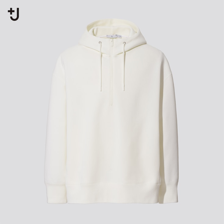 Men +J Dry Sweat Half-Zip Pullover Hoodie, Off White, Large