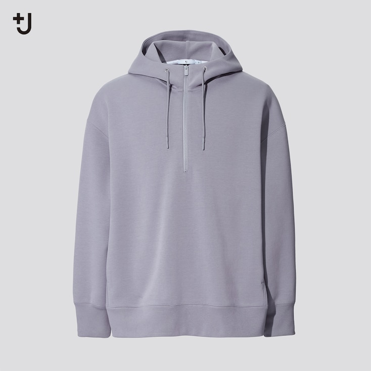 Men +J Dry Sweat Half-Zip Pullover Hoodie, Gray, Large