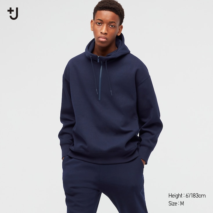 Men +J Dry Sweat Half-Zip Pullover Hoodie, Navy, Large