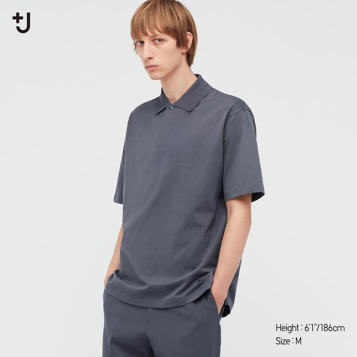 Men +J Relaxed Fit Short-Sleeve Polo Shirt, Dark Gray, Large