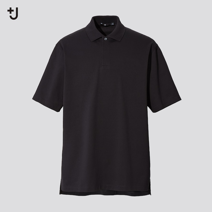 Men +J Relaxed Fit Short-Sleeve Polo Shirt, Black, Large