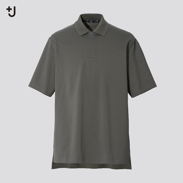 Men +J Relaxed Fit Short-Sleeve Polo Shirt, Olive, Large