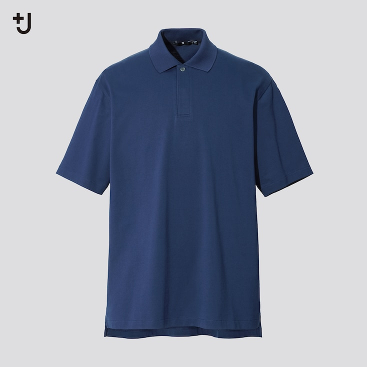 Men +J Relaxed Fit Short-Sleeve Polo Shirt, Blue, Large