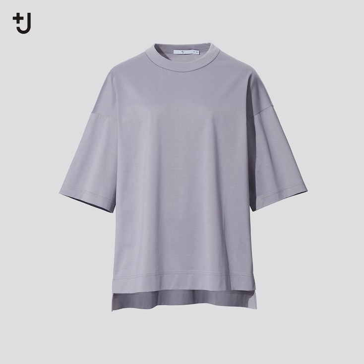 Women +J Supima Cotton Oversized Half-Sleeve T-Shirt, Gray, Large