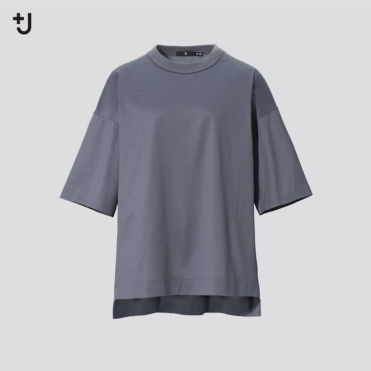 Women +J Supima Cotton Oversized Half-Sleeve T-Shirt, Dark Gray, Large