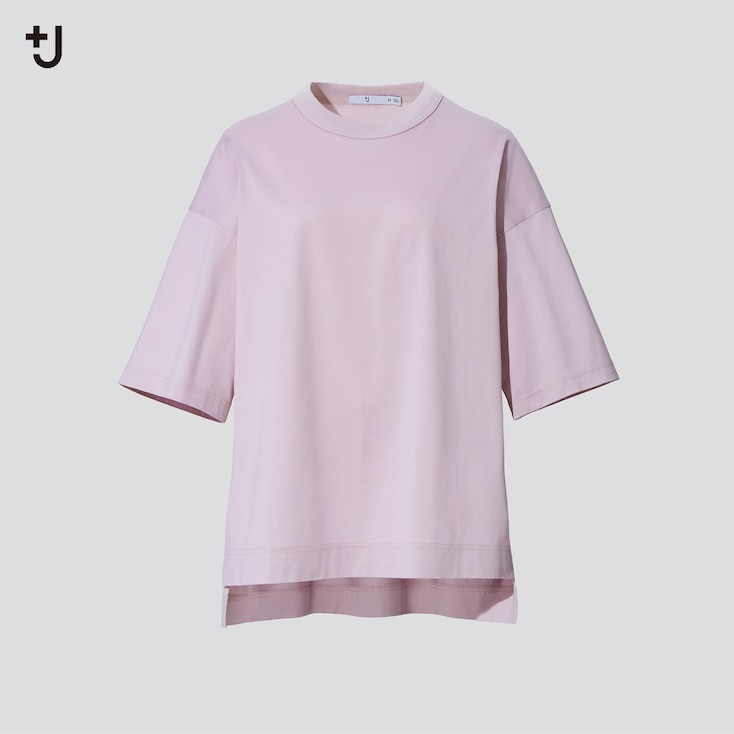 Women +J Supima Cotton Oversized Half-Sleeve T-Shirt, Pink, Large