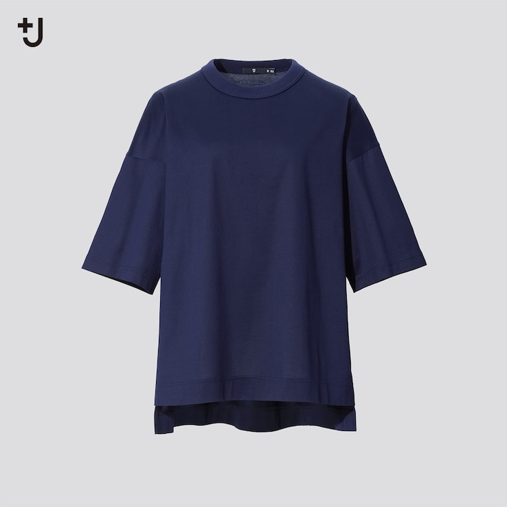 Women +J Supima Cotton Oversized Half-Sleeve T-Shirt, Navy, Large