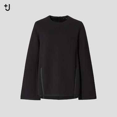 Women +J Crew Neck Sweatshirt, Black, Medium