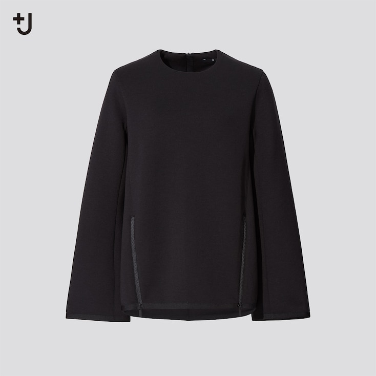 Women +J Crew Neck Sweatshirt, Black, Large
