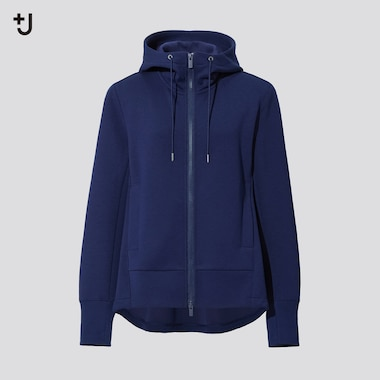 Women +J Dry Sweat Long-Sleeve Full-Zip Hoodie, Blue, Medium