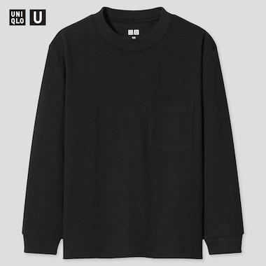 Kids U Crew Neck Long-Sleeve T-Shirt, Black, Medium