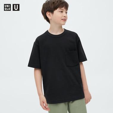 Kids U Airism Cotton Crew Neck T-Shirt, Black, Medium