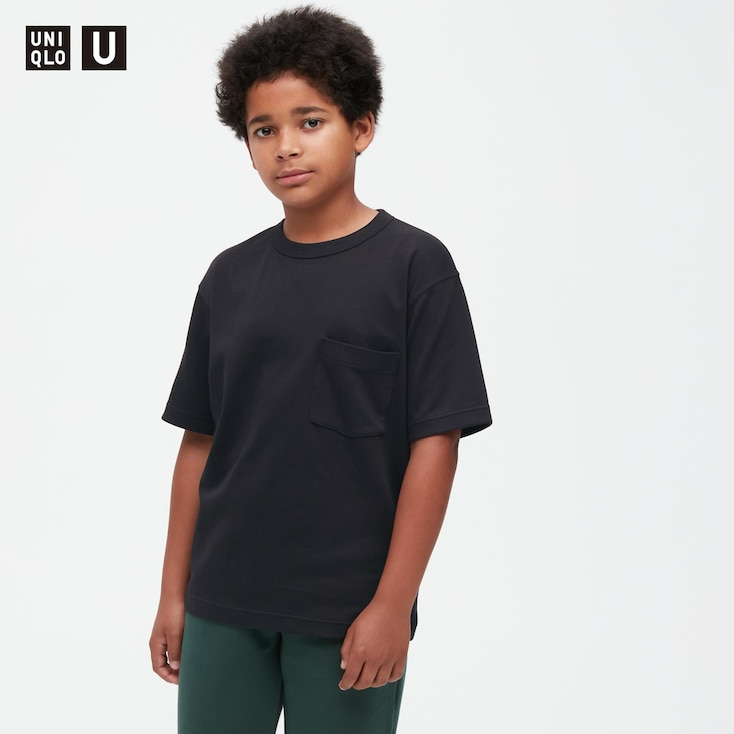 Kids U Airism Cotton Crew Neck T-Shirt, Black, Large