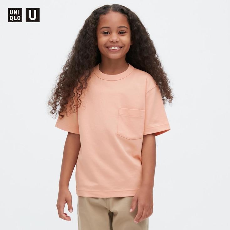 Kids U Airism Cotton Crew Neck T-Shirt, Pink, Large