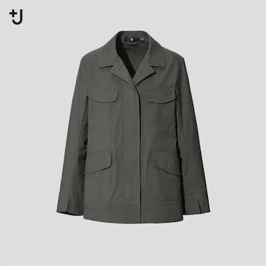 Women +J Cotton-Linen Safari Jacket, Olive, Medium