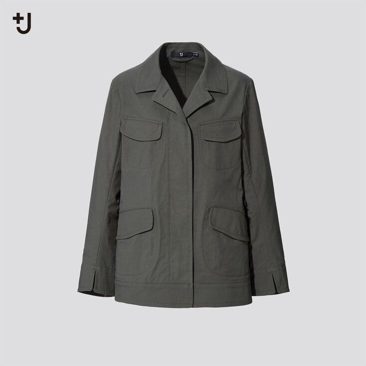 Women +J Cotton-Linen Safari Jacket, Olive, Large