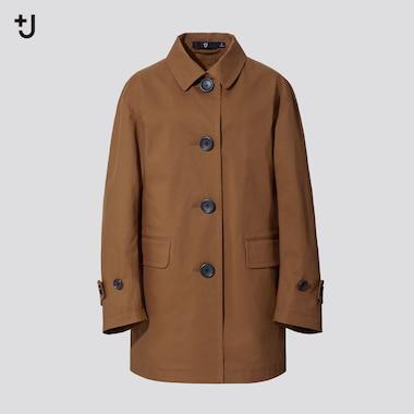 Women +J Soutien Collar Short Coat, Beige, Medium