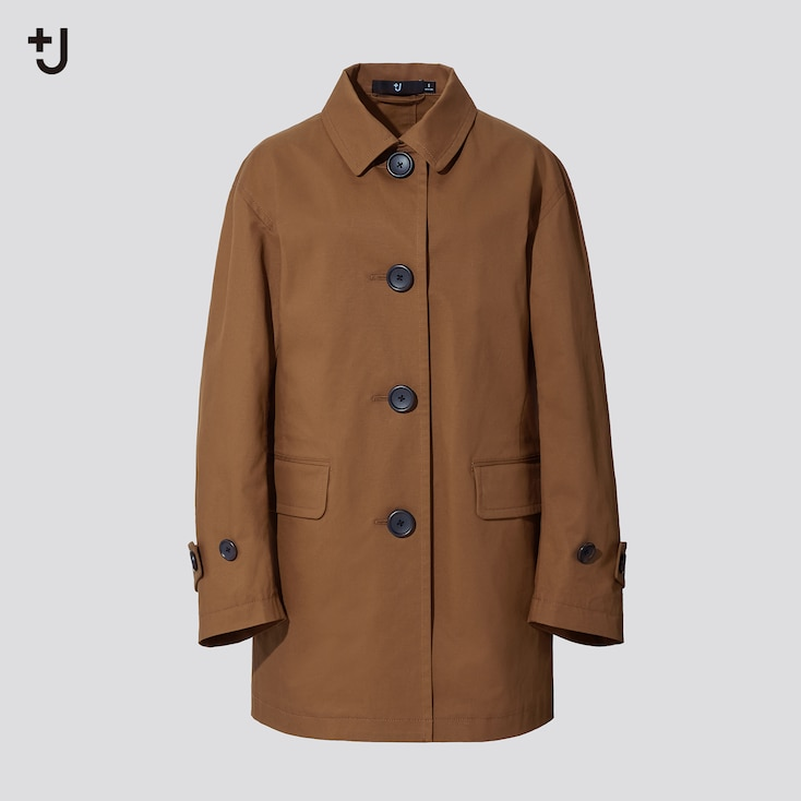 Women +J Soutien Collar Short Coat, Beige, Large