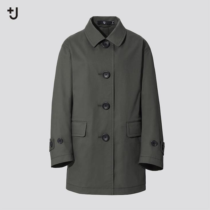 Women +J Soutien Collar Short Coat, Olive, Large