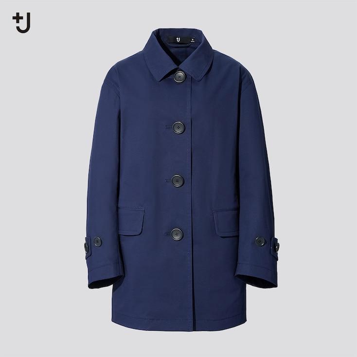 Women +J Soutien Collar Short Coat, Blue, Large