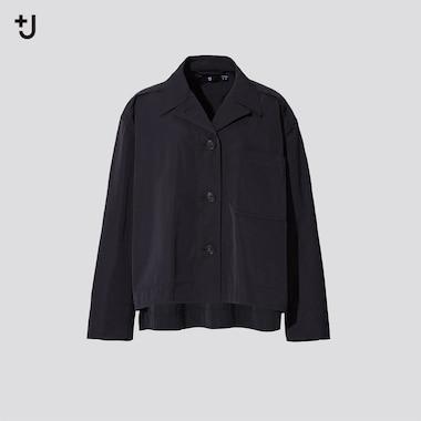 Women +J Oversized Shirt Jacket, Black, Medium