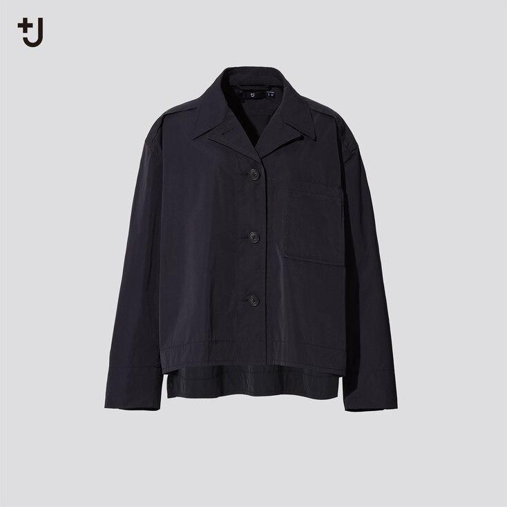Women +J Oversized Shirt Jacket, Black, Large