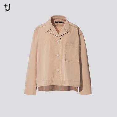 Women +J Oversized Shirt Jacket, Beige, Medium