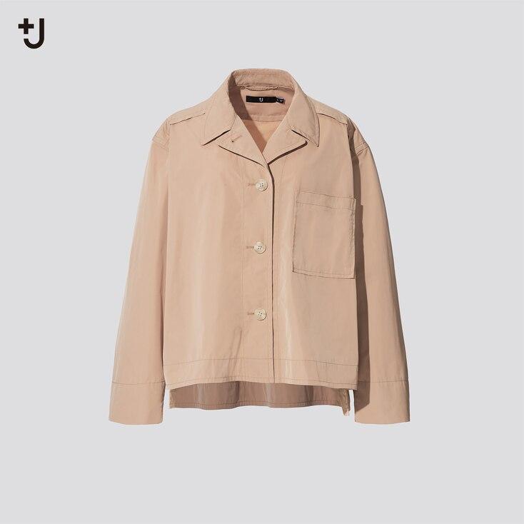 Women +J Oversized Shirt Jacket, Beige, Large
