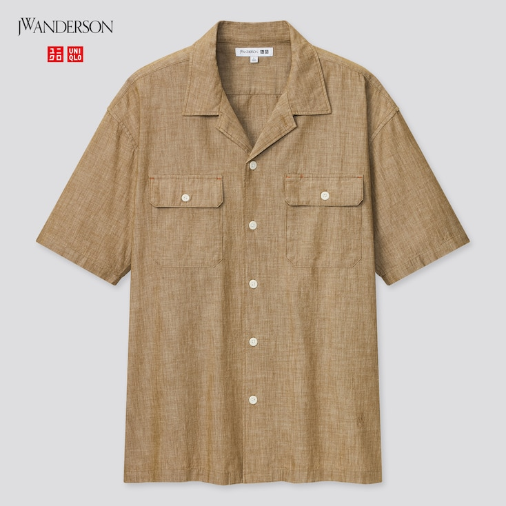 Men Chambray Short-Sleeve Work Shirt (Jw Anderson), Brown, Large