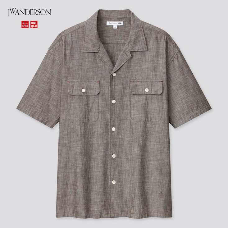 Men Chambray Short-Sleeve Work Shirt (Jw Anderson), Olive, Large