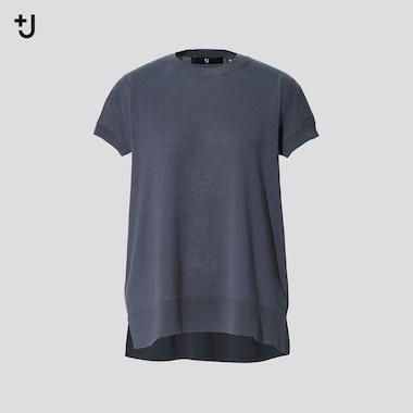 Women +J Silk-Cotton Crew Neck Short-Sleeve Sweater, Gray, Medium