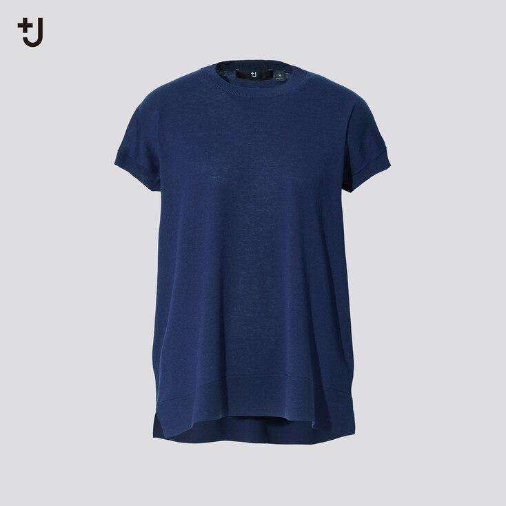 Women +J Silk-Cotton Crew Neck Short-Sleeve Sweater, Blue, Large