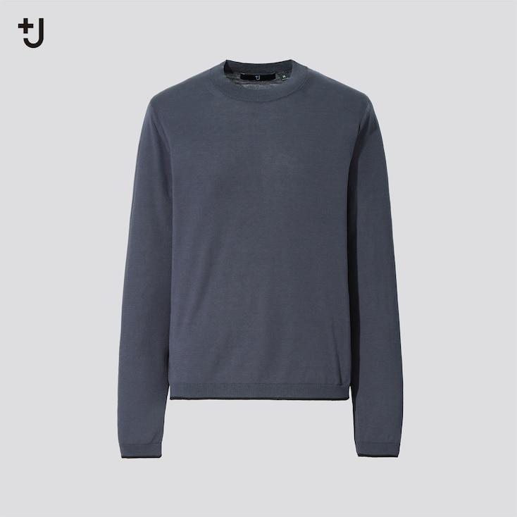 Women +J Silk-Cotton Crew Neck Long-Sleeve Sweater, Gray, Large