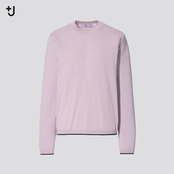 Women +J Silk-Cotton Crew Neck Long-Sleeve Sweater, Pink, Large