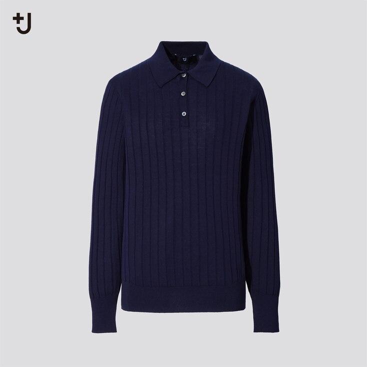 Women +J Silk-Cotton Long-Sleeve Sweater, Navy, Large