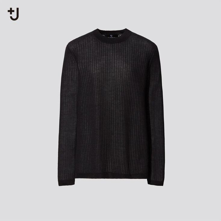 Women +J Sheer Wide-Ribbed Long Sweater, Black, Large