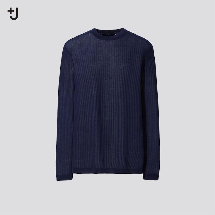 Women +J Sheer Wide-Ribbed Long Sweater, Navy, Large