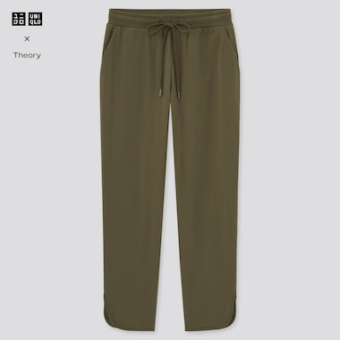 Women Ultra Stretch Active Ankle-Length Pants (Theory), Olive, Medium