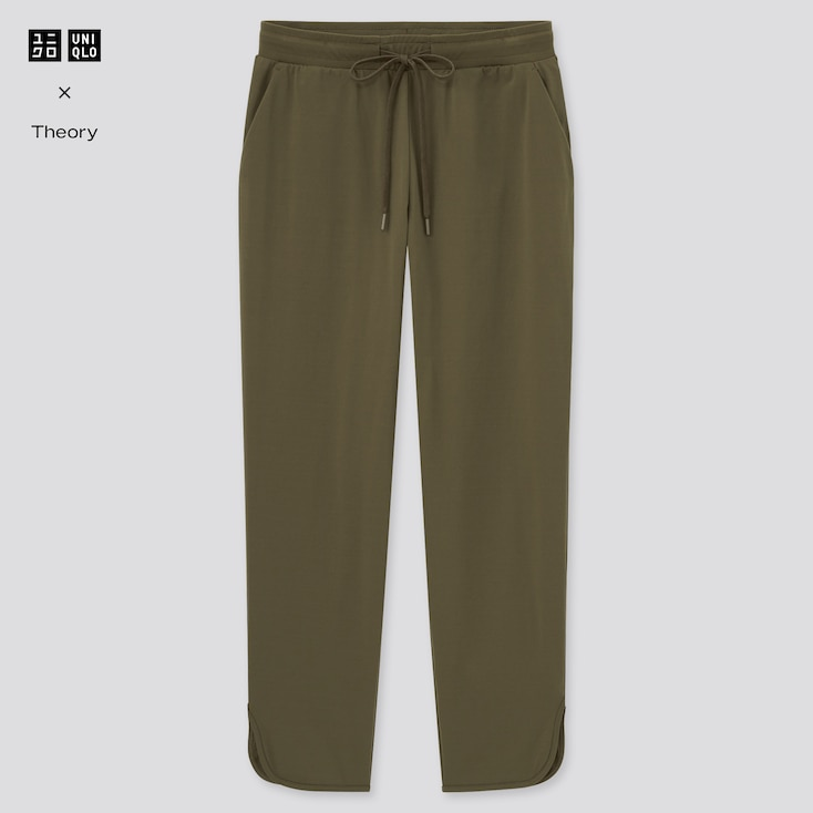Women Ultra Stretch Active Ankle-Length Pants (Theory), Olive, Large