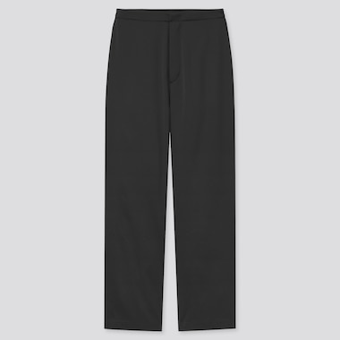 Women Satin Relaxed Straight Pants, Black, Medium