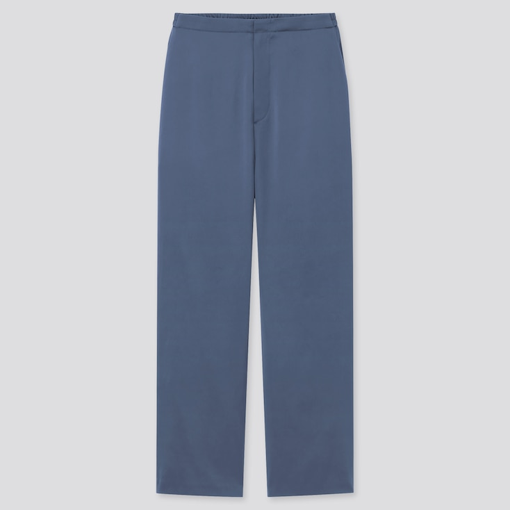 Women Satin Relaxed Straight Pants, Blue, Large