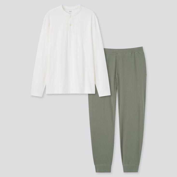 Men Ultra Stretch Long-Sleeve Set, Off White, Large