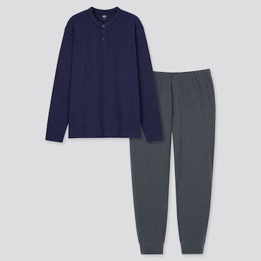 Men Ultra Stretch Long-Sleeve Set, Navy, Medium