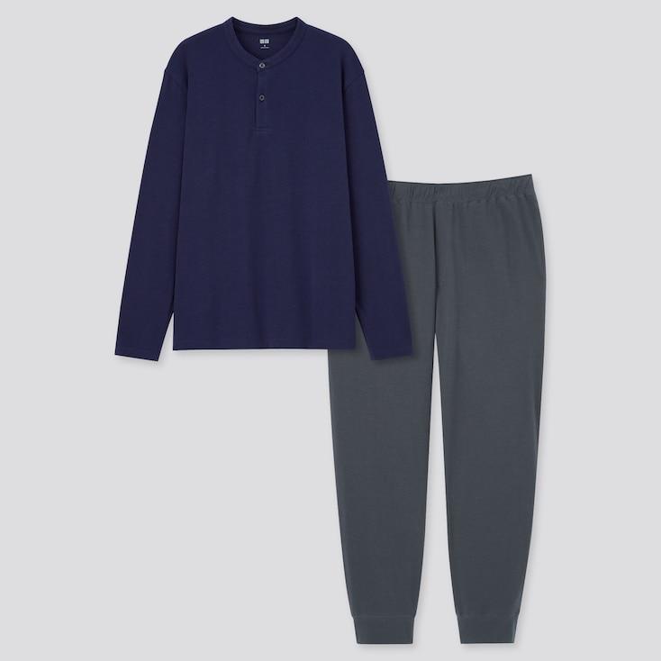 Men Ultra Stretch Long-Sleeve Set, Navy, Large