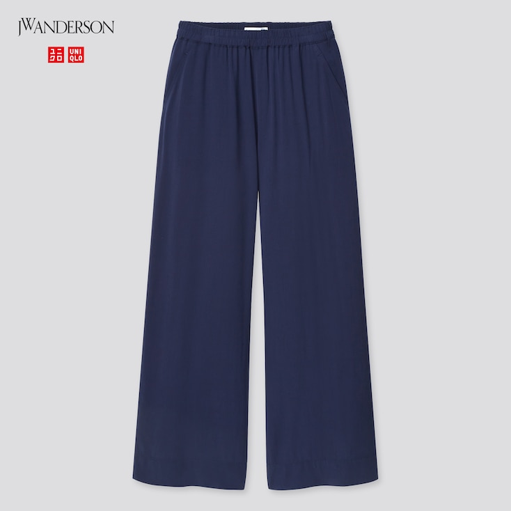 Women Easy Wide Pants (Jw Anderson), Navy, Large