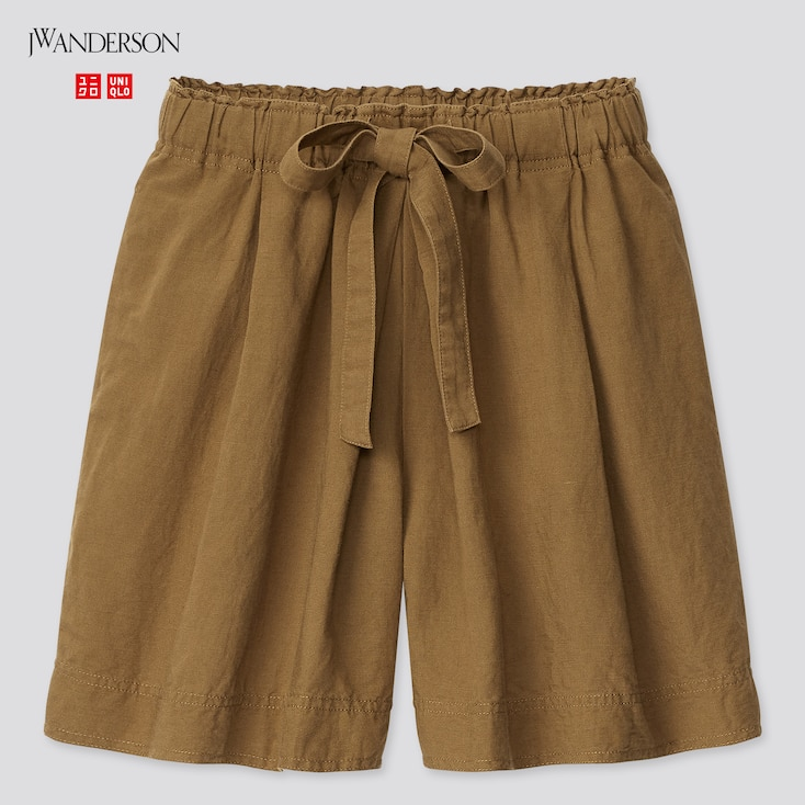 Women Linen-Blend Tucked Shorts (Jw Anderson), Brown, Large