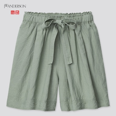 Women Linen-Blend Tucked Shorts (Jw Anderson), Green, Medium