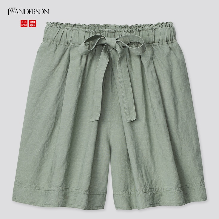 Women Linen-Blend Tucked Shorts (Jw Anderson), Green, Large