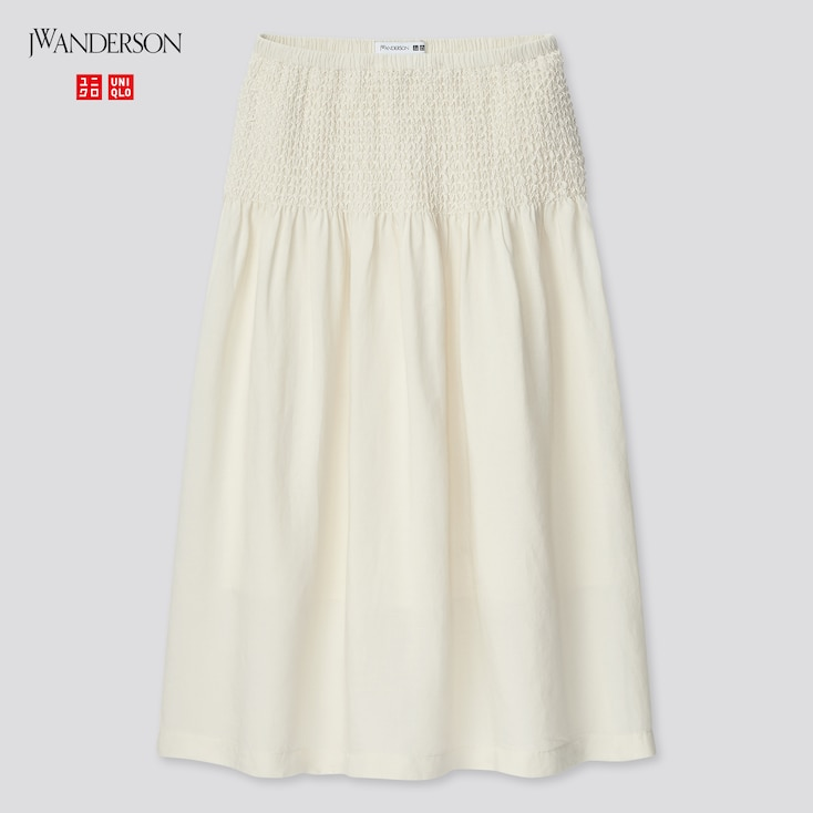 Women Smocked Skirt (Jw Anderson), Off White, Large