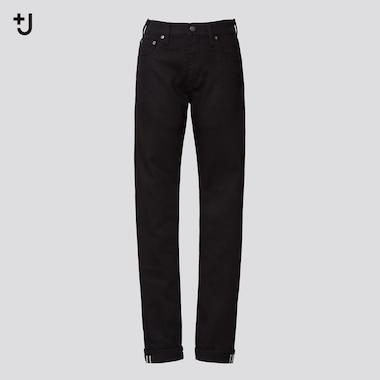 Women +J Selvedge Straight Jeans, Black, Medium